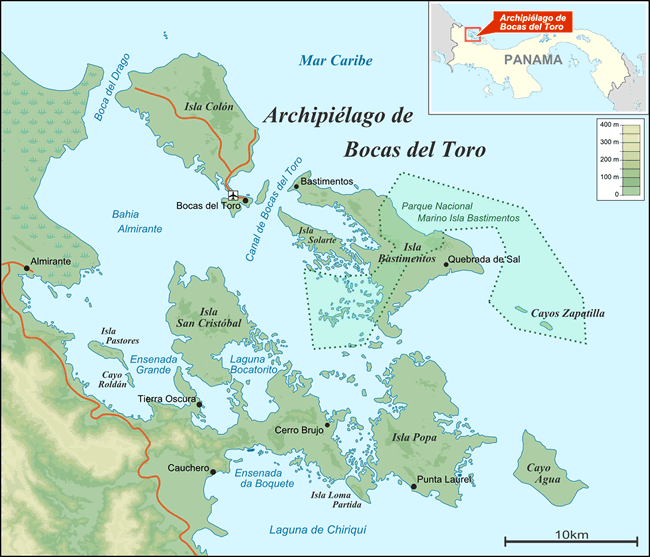 Map of the Islands of the Archipelago of Bocas del Toro in Panama